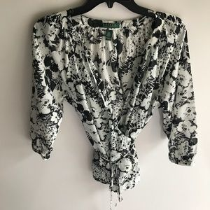 Ralph Lauren black and white wrap blouse small